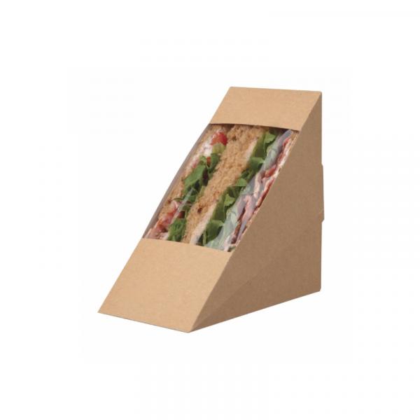 Kutija za trokutni sendvič 123 x 72 x 123mm kraft (10 kom/pak)