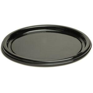 Poslužavnik-tanjur Sabert d=26cm crni s poklopcem, 25 kom (komplet)