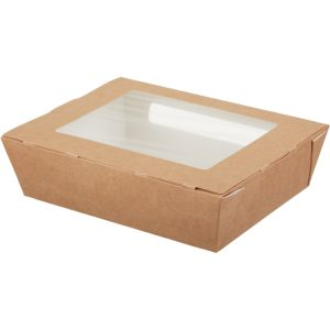 Posuda papirnata s prozorom ECO SALAD 190x150x50mm 1000ml, kraft (200 kom/pak)
