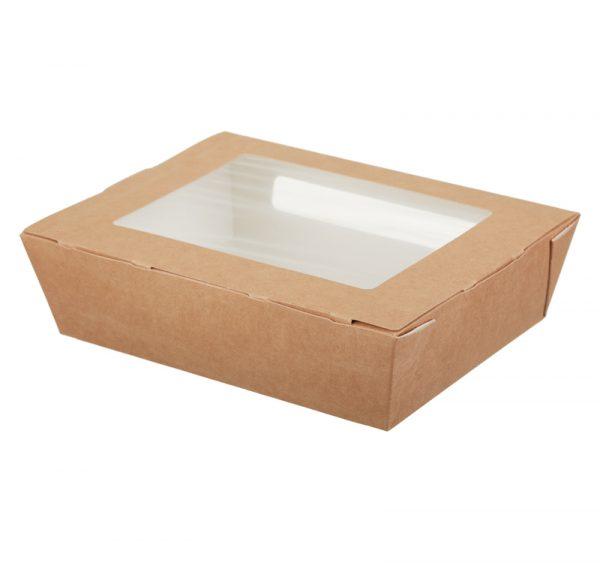Papirnata posuda s prozorom ECO SALAD 1000 ml 190x150x50mm kraft (200 kom/pak)