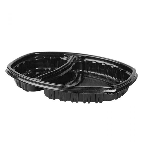 Posuda PP 257х202mm h—37mm 450/900ml dvodelna, pravougaona, crna s poklopcem, 70 kom (komplet)