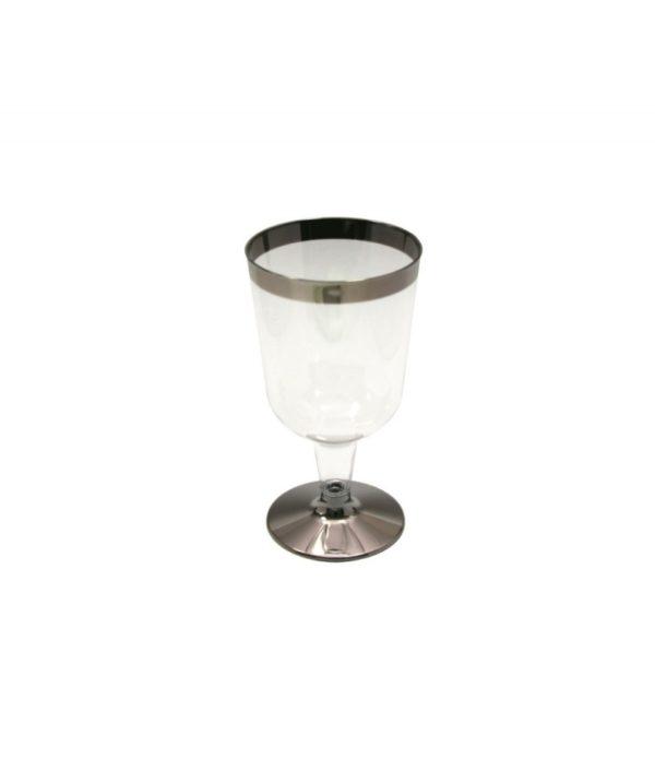 Čaša Tambien za vino, 180 ml prozirna sa srebrnom prugom, 6 kom. u pakovanju