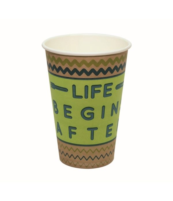 Čaša papirnata 400 ml d=90 mm 1-slojna Happy Life kraft (50 kom/pak)