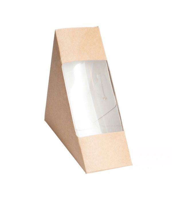 Posuda papirnata za sendvič ECO SANDWICH 40 130x130x40 mm sa prozorom, Kraft (50 kom/pak)