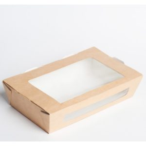 Posuda papirnata s prozorom ECO SALAD 150x115x50mm 600ml, kraft (350 kom/pak)