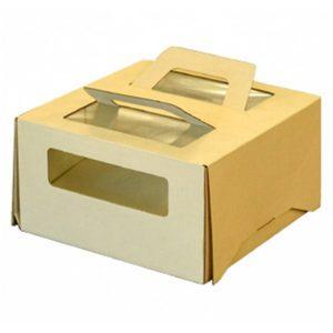 Kutija za tortu s ručkama i prozorom 210х210х120 mm za 1kg (20 kom/pak)