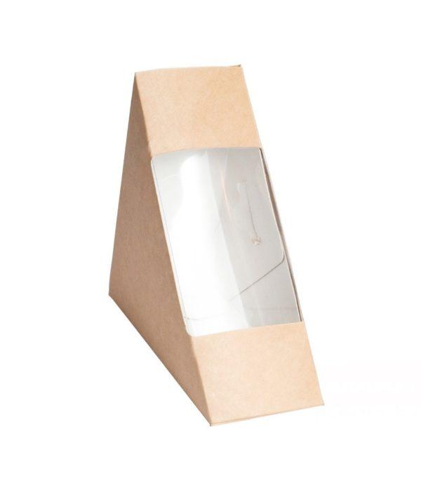Posuda papirnata za sendvič ECO SANDWICH 60 130x130x60 mm sa prozorom, Kraft (50 kom/pak)