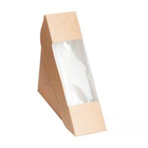 Posuda za sendvič papirnata s prozorčićem ECO SANDWICH 50 130х130х50 mm, kraft (600 kom/pak)