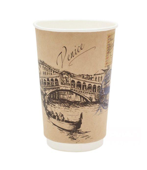 Čaša papirnata dvoslojna 400 (518) ml d=90mm Gradovi svijeta, kraft (18 kom/pak)