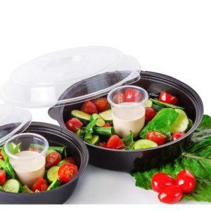 Posuda PS za salatu 850ml crna, dno s zdjelica za umak (400 kom/pak)