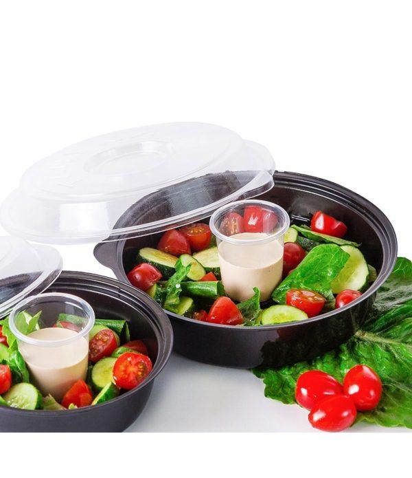 Posuda PS za salatu КD-106 850ml, crna s poklopcem, 400 kom (komplet)