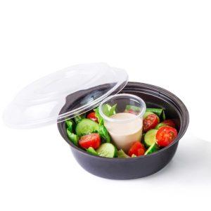 Posuda PS za salatu КD-110 450ml, crna s poklopcem, 400 kom (komplet)