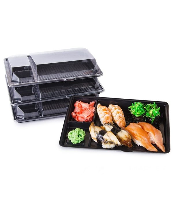 Posuda PS za sushi KD-011 201х125х36mm crna s poklopcem, 540 kom (komplet)