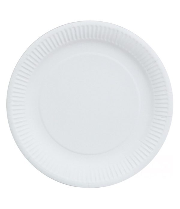 Papirnati tanjur d=230 mm bjeli lakirani (100 kom/pak)