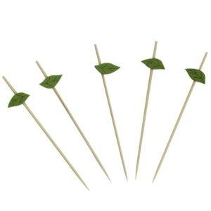 Pikalica drvena za kanapee Zeleni listić 12cm 100 kom/pak