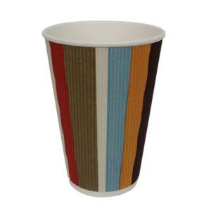 Čaša papirnata 410 ml d=90 mm 3-slojna valovita raznobojne pruge (25 kom/pak)