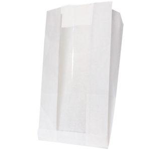Vrećica papirnata s prozorom 200(100)x60x300 mm bijela (1000 kom/pak)