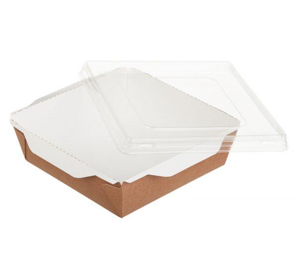 Posuda papirnata za salate i topla jela s prozirnim poklopcem ECO OpSalad 150х150х50mm 900 ml, kraft (150 kom/pak)