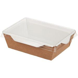 Posuda papirnata za salate i topla jela s prozirnim poklopcem ECO OpSalad 120х85х45 mm 400 ml, kraft (400 kom/pak)