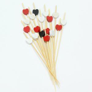 Drvena pikalica12 cm Srce crveno, crno, bjelo 100 kom/pak