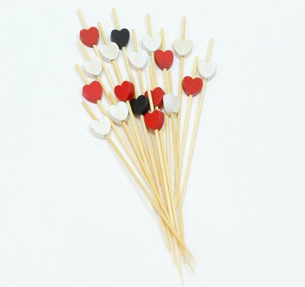 Štapić drveni za kanapee Srce crveno, crno, bjelo 12 сm 100 kom/pak