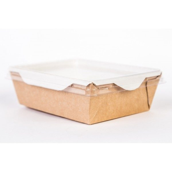 Posuda papirnata za salate i topla jela s prozirnim poklopcem ECO OpSalad 200х140х55mm 1000 ml, kraft (150 kom/pak)