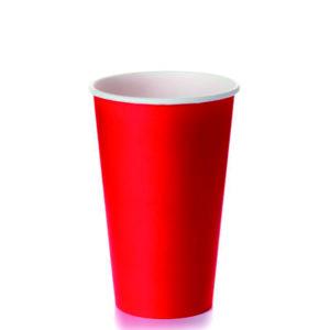 Čaša papirnata jednoslojna 400 (518) ml d=90mm za tople napitke crvena (50 kom/pak)