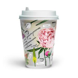 Papirnat kozarec 400 (480) ml dvoslojen, d=90 mm , Fleur di cafe