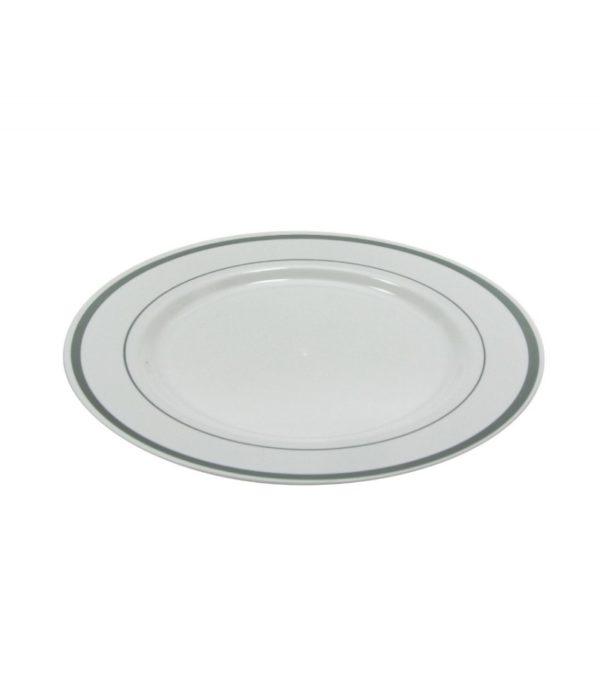 Tanjur plastični TaMbien sa srebrnom ivicom, beli d=230 mm 10 kom/pak