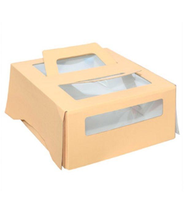 Kutija za tortu s ručkama i prozorom 260x260x130 mm za 1,5kg (20 kom/pak)
