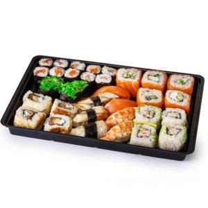 Posuda PS za sushi KD-004 295x205x43mm, črna, PS s poklopcem, 200 kom (komplet)