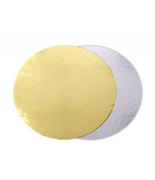 Podmetač krug za torte karton d=240 mm zlato/srebro (50 kom/pak)