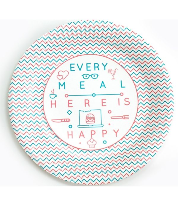 Papirnati tanjur d=230 mm Happy Life (100 kom/pak)