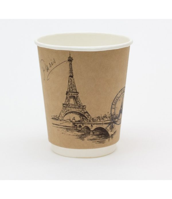 Čaša papirnata 250 ml, d=90 mm 2-slojni kraft Gradovi sveta (25 kom/pak)