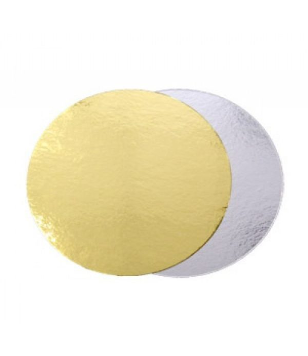 Podmetač krug za torte karton d=220 mm zlatna/srebrna (50 kom/pak)