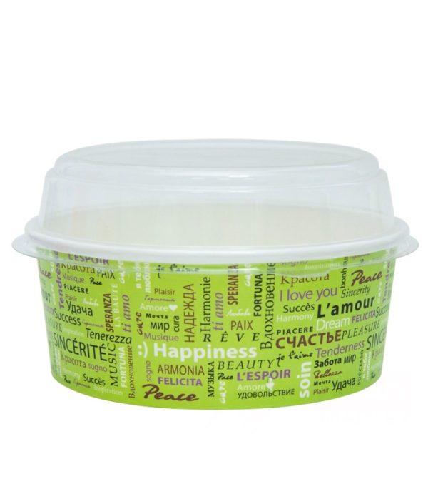 Posuda papirnata Fiesta za salate 750 ml, d=150mm s poklopcem, 100 kom (komplet)