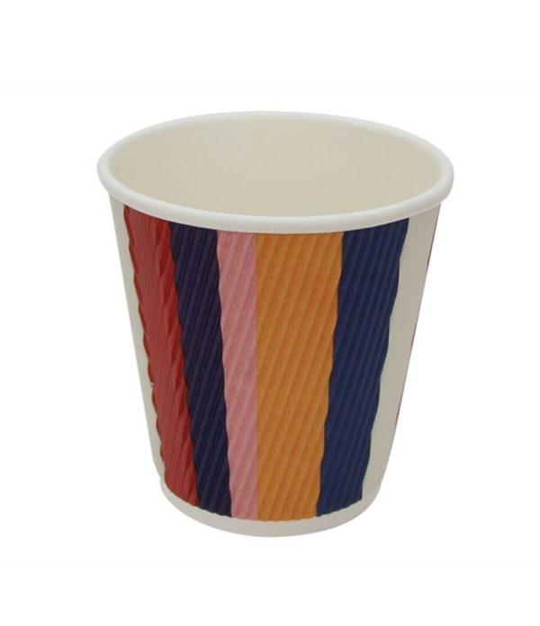 Čaša papirnata 250 ml d=80 mm 3-slojna valovita raznobojne pruge (25 kom/pak)