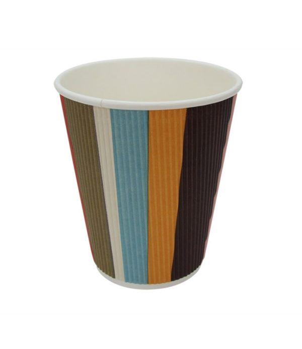 Čaša papirnata troslojna 310 (410) ml d=90mm valovita, raznobojne pruge (25 kom/pak)