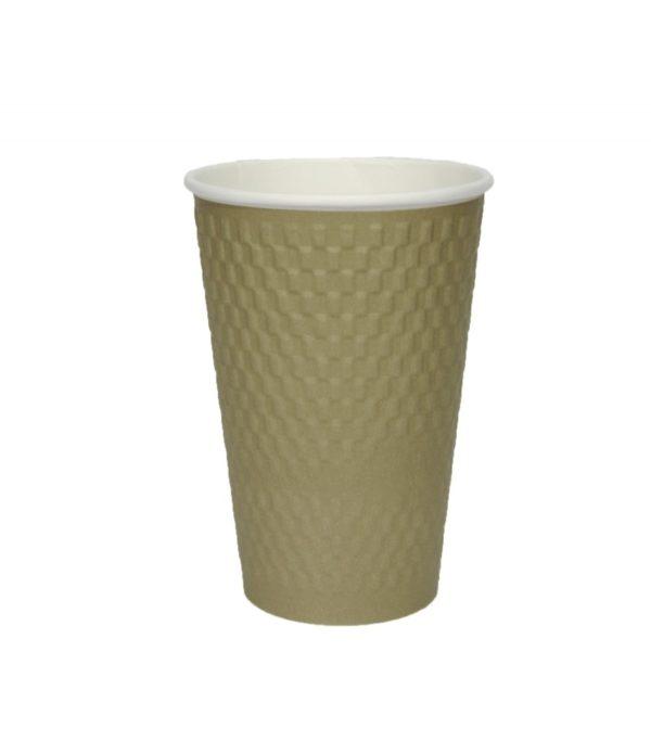 Čaša papirnata 410 ml d=90 mm 3-slojna valovita cigla zlatna kraft (25 kom/pak)