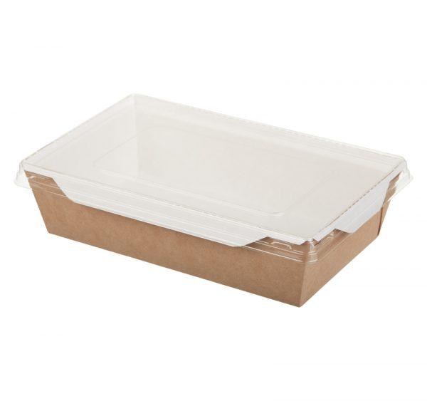 Posuda papirnata za salatu i topla jela s prozirnim poklopcem ECO OpSalad 186х106х55 mm 800 ml kraft (150 kom/pak)