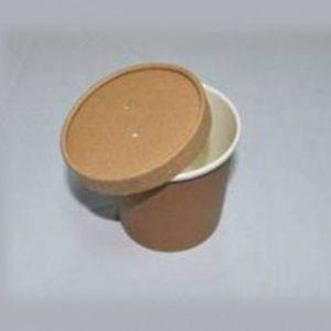Posuda papirnata za juhu ECO SOUP d-75 mm, h-100 mm, 440 ml s poklopcem, kraft (250 kom/pak)