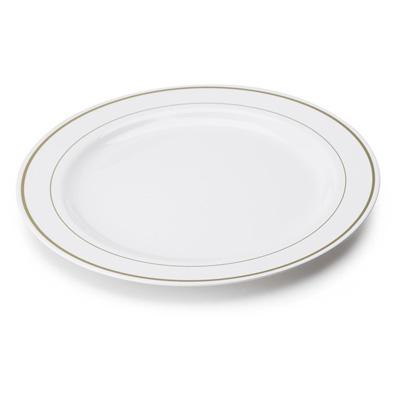 Tanjur Sabert plastični bijeli sa zlatnom bordurom d=23 cm (6 kom/pak)