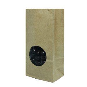 Vrećica papirnata kraft , pravokutno dno 170х80х50 prozorčić okrugli 5 (600 kom/pak)