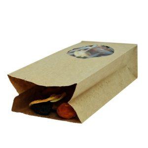 Vrećica papirnata kraft , pravokutno dno 200х100х60 prozorčić okrugli 7 (500 kom/pak)