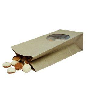 Vrećica papirnata kraft pravokutno dno 250х120х80 prozor okrugli 9 (500 kom/pak)