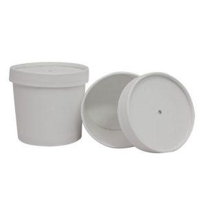 Posuda papirnata za juhu d-95mm, h-82mm, 345 ml dupli poklopac, bijela (336 kom/pak)