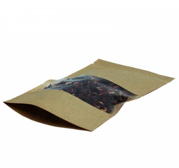 Vrećica papirnata  225х135х45mm, kraft, zip-lock prozor (50 kom/pak)