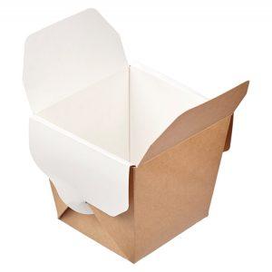Posuda papirnata ECO NOODLES 460 ml 65х80х100mm, pravokutno dno, kraft (35 kom/pak)