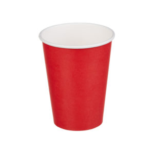 Čaša papirnata jednoslojna 300 (364) ml crvena (50 kom/pak)