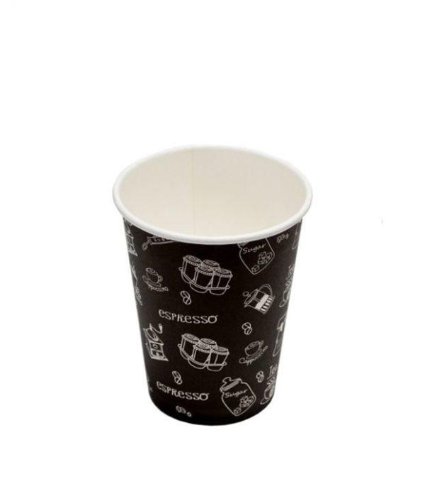 Čaša papirnata jednoslojna 300 (364) ml crna (50 kom/pak)